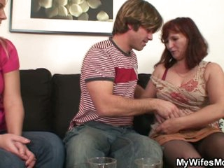 Horny brunette momma opens cum vitalized mouth be useful to son in law's cock