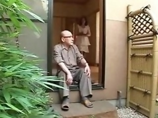 Maki Tomoda leaves her father for some hot coupled with heavy fucking